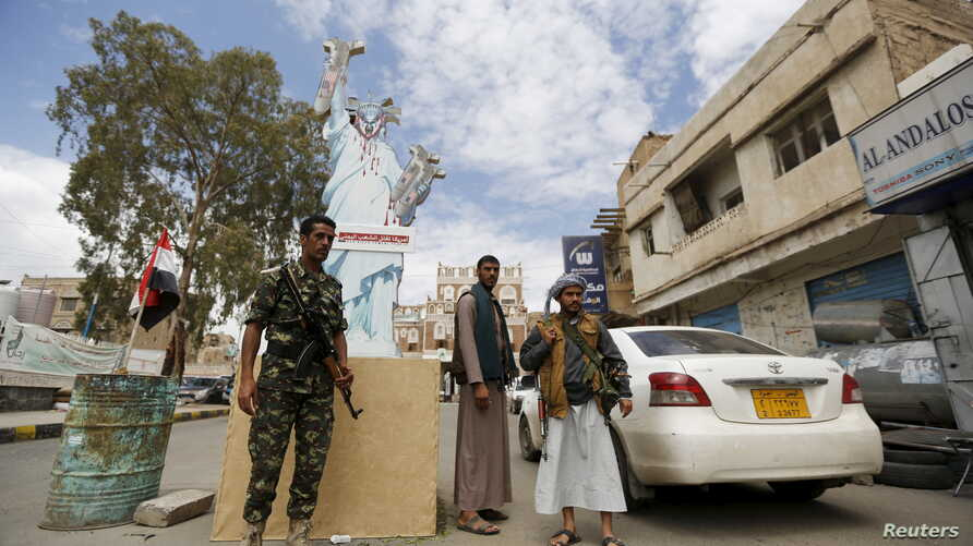 Houthi militants man a checkpoint in Yemen's capital, Sana'a, April 18, 2016.