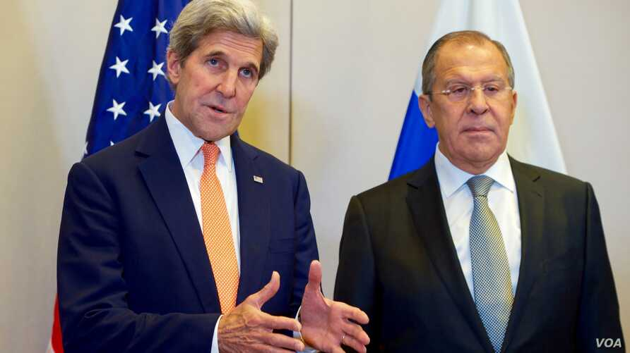 U.S. Secretary of State John Kerry, flanked by Russian Foreign Minister Sergey Lavrov, answers a reporter's question on Sept. 9, 2016, at the Hotel President Wilson in Geneva, Switzerland, before they begin a bilateral meeting focused on Syria.