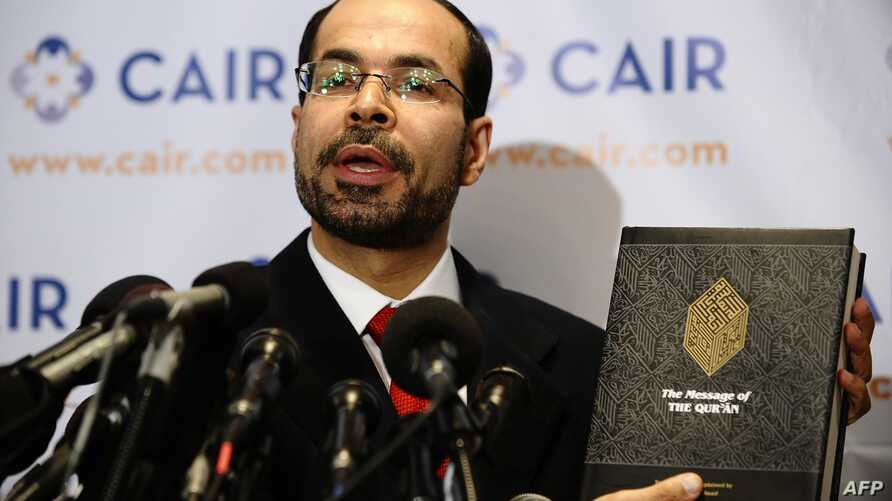 FILE - Council on American-Islamic Relation (CIAR) National Executive Director Nihad Awad answers question during a press conference in Washington, DC, Sept. 9, 2010.