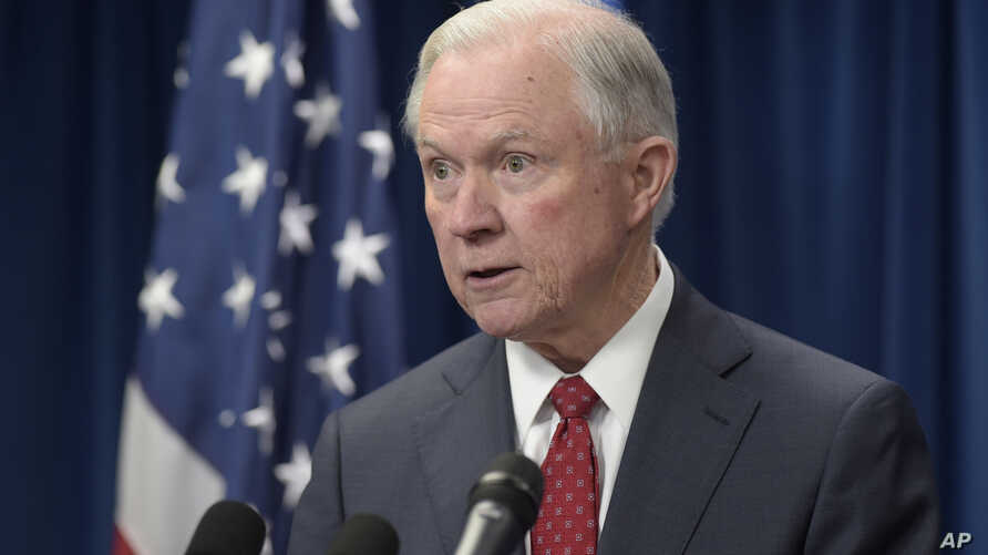 FILE - Attorney General Jeff Sessions speaks in Washington, March 6, 2017. The ACLU comlaint relates to Session's  testimony during his Senate confirmation process regarding his contact with Russia.