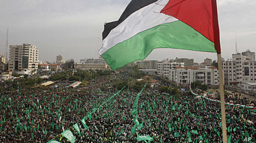 Tens of thousands of Hamas supporters gather during a rally to mark 24 years since its founding, in Gaza city, December 14, 2011.