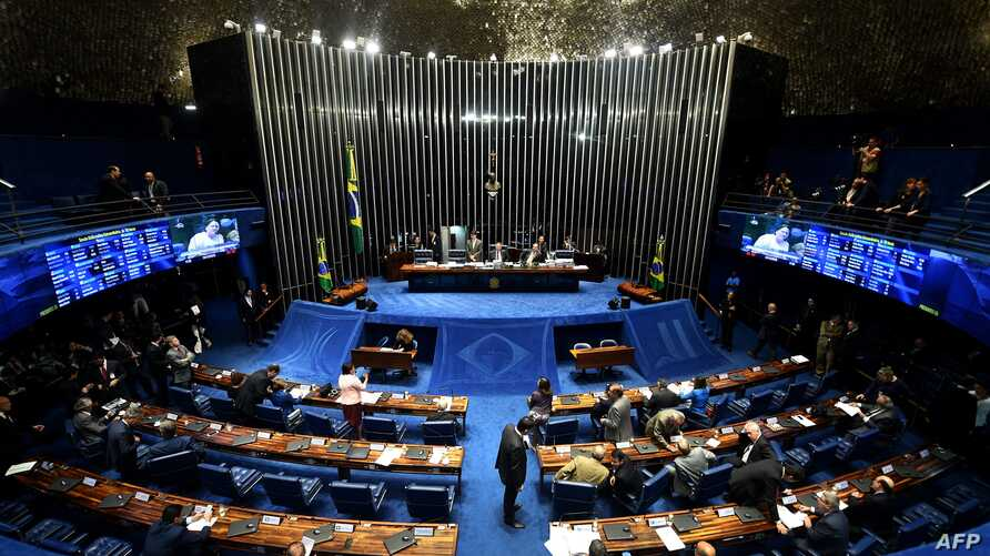 FILE - A general view of the Brazilian Senate plenary during a session to vote on the constitutional amendment that establishes the limit of expenses for the government in the annual budget, as the centerpiece of austerity reforms, in Brasilia, Dec.