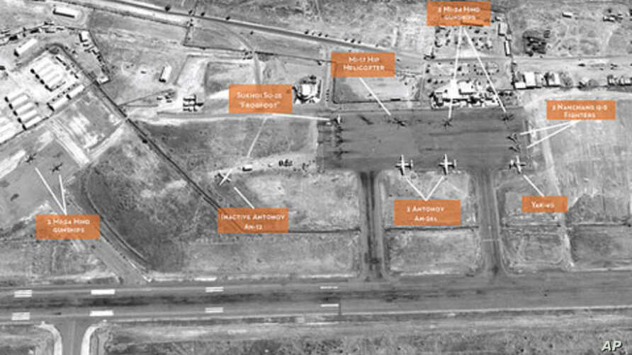 Satellite image of El Obeid air base in Sudan's North Kordofan State, showing build-up of military aircraft.