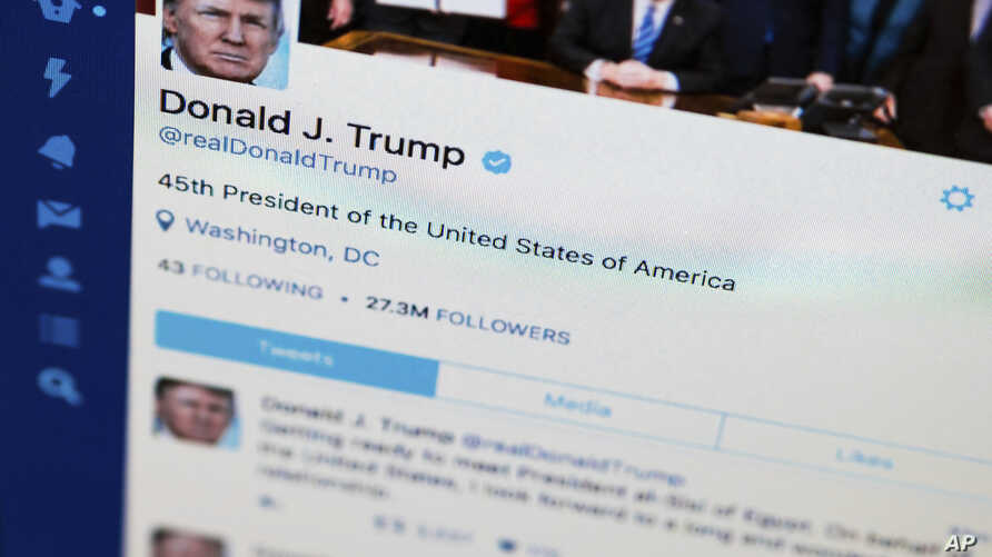 President Donald Trump's Twitter feed is photographed on a computer screen in Washington, April 3, 2017.