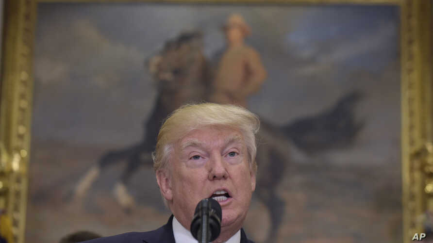 President Donald Trump speaks about the shooting of House Majority Whip Steve Scales of La. at a baseball practice, Thursday, June 15, 2017, in the Roosevelt Room of the White House in Washington.