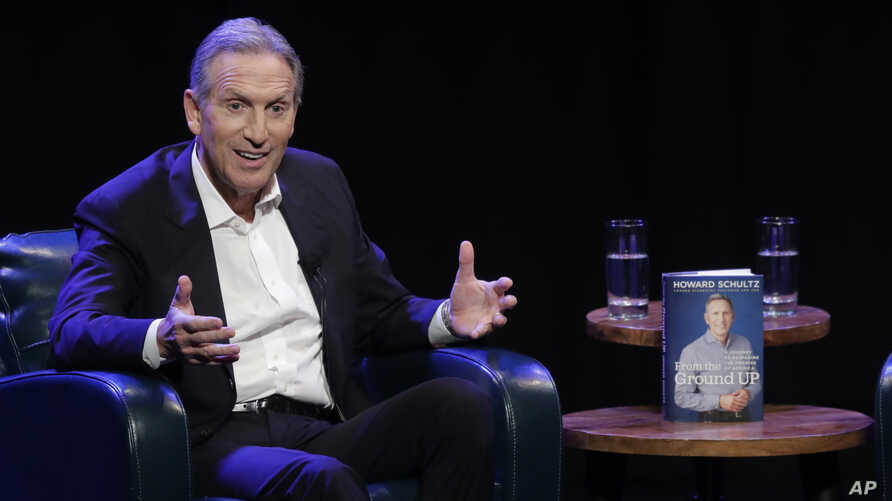 """FILE - Former Starbucks CEO Howard Schultz speaks at an event to promote his book, """"From the Ground Up,"""" in Seattle, Washington, Jan. 31, 2019."""