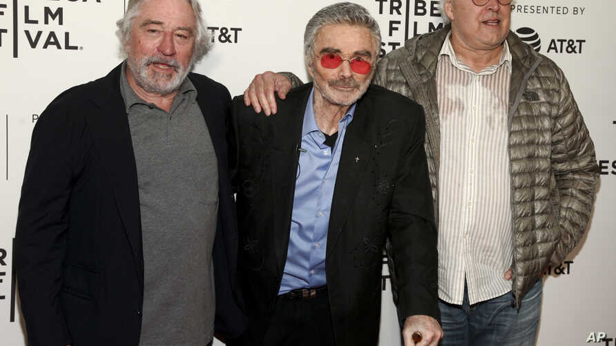 """Robert De Niro, from left, Burt Reynolds and Chevy Chase attend the screening of """"Dog Years,"""" during the 2017 Tribeca Film Festival, at Cinepolis Chelsea, April 22, 2017, in New York."""