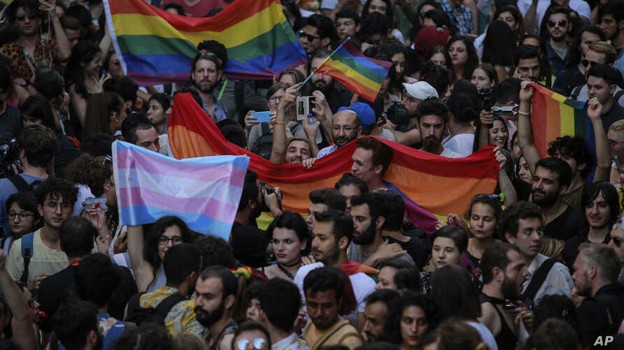 Turkey's lesbian, gay, bisexual, trans and intersex activists march despite a ban, in Istanbul, July 1, 2018.
