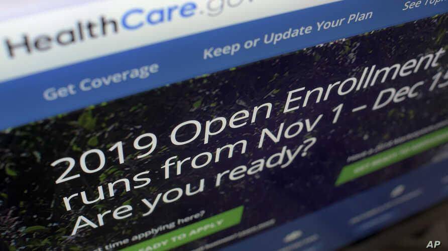 FILE - This Oct. 23, 2018, photo shows the HealthCare.gov website on a computer screen in New York.