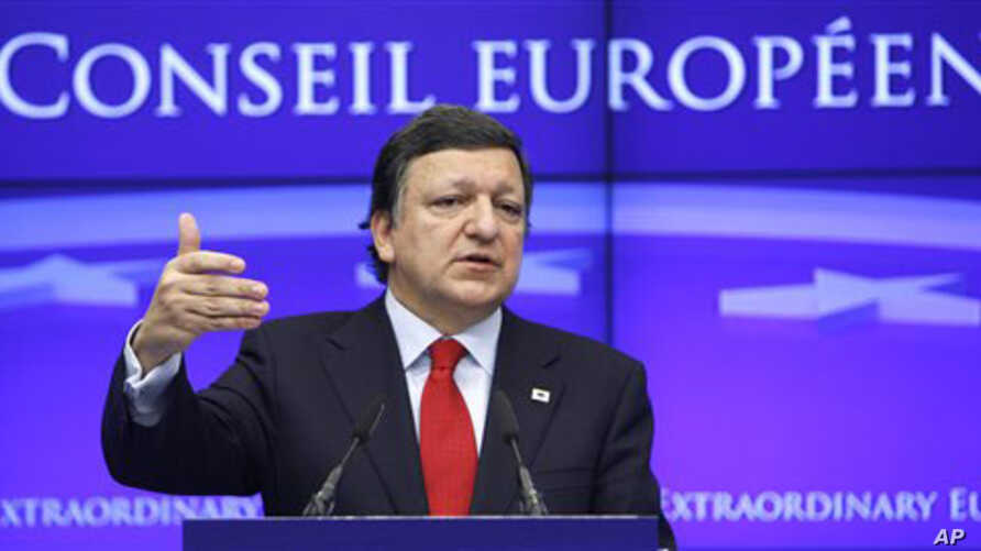 European Commission President Jose Manuel Barroso speaks during a media conference at an EU Summit in Brussels, Belgium, March 11, 2011