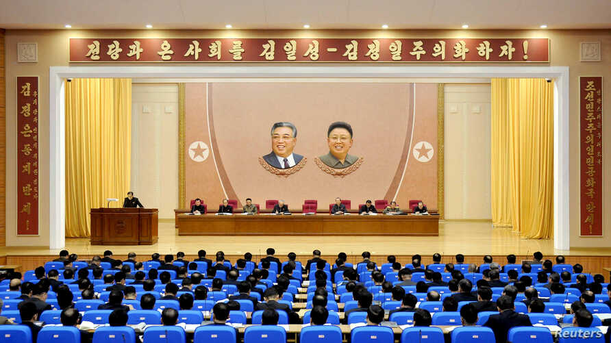 A plenary session of party, state, economic organization, and military personnel was held in Pyongyang on January 7 and 8 to thoroughly carry out the martial task that leader Kim Jong Un presented in his New Year address, in this undated photo releas