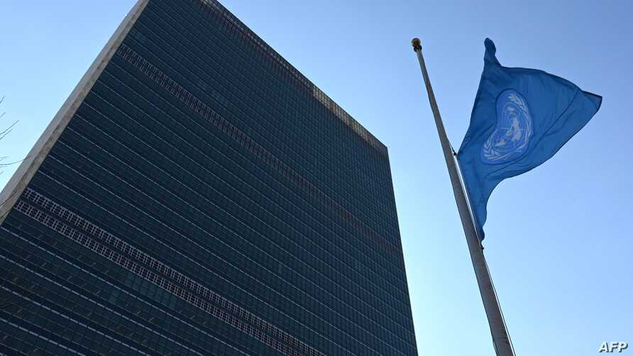 The flag of the United Nations is flown at half-mast in front of the Secretariat building in New York, March 11, 2019, the morning after an Ethiopian Airlines Boeing 737 passenger jet to Nairobi crashed  March 10, 2019 with 149 passengers and eight c