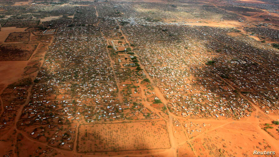 FILE - An aerial view shows makeshift shelters at the Dagahaley camp in Dadaab, near the Kenya-Somalia border in Garissa County, Kenya.
