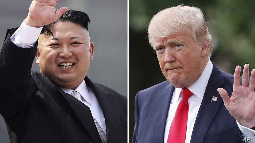 FILE - This combination of photos show North Korean leader Kim Jong Un on April 15, 2017, in Pyongyang, North Korea, left, and U.S. President Donald Trump in Washington on April 29, 2017.
