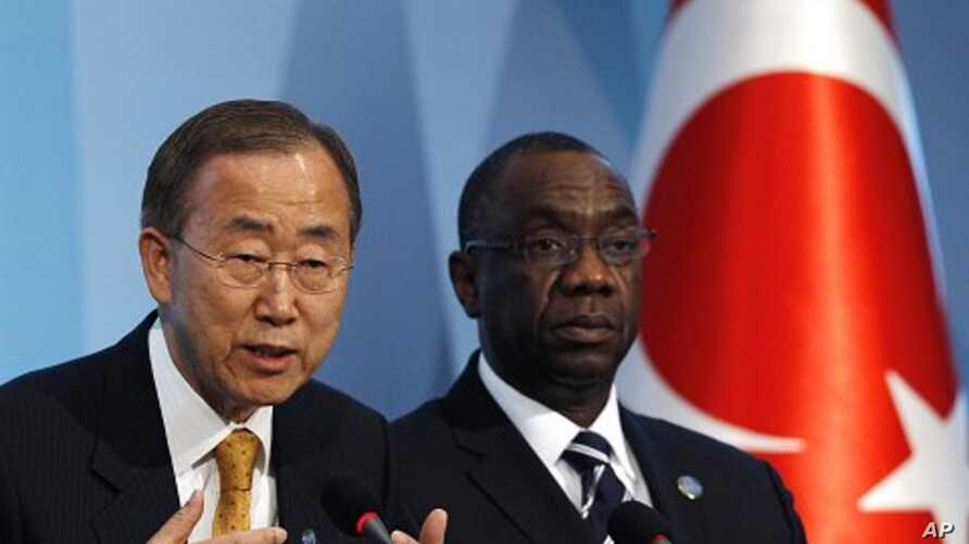 United Nations Secretary-General Ban Ki-moon, left, accompanied by Secretary-General of the conference Cheikh Sidi Diarra, attends a news conference during the 4th UN Conference on the Least Developed Countries in Istanbul, Turkey. (File Photo - May