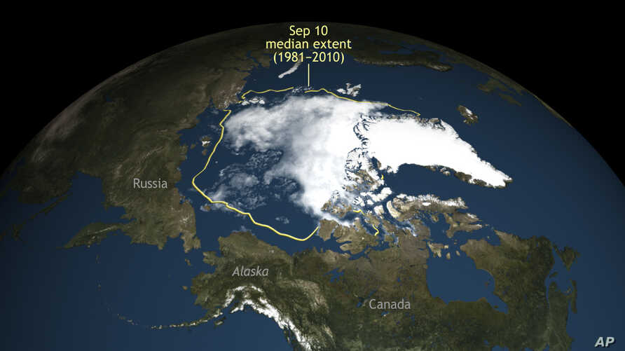 This image provided by the National Snow & Ice Data Center shows Arctic Sea ice. Arctic sea ice this winter set a new record low.