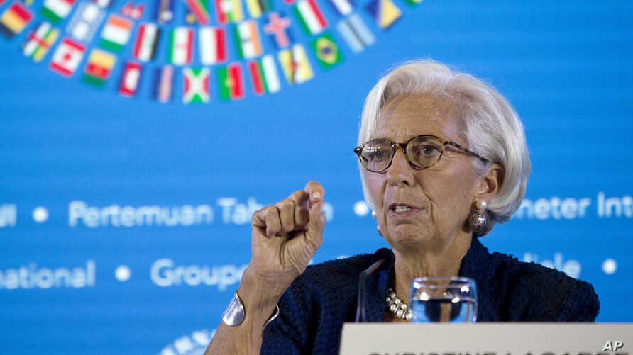 Managing Director of International Monetary Fund (IMF) Christine Lagarde talks during a press conference ahead of the annual meetings of the IMF and World Bank  in Bali, Indonesia, Oct. 11, 2018.