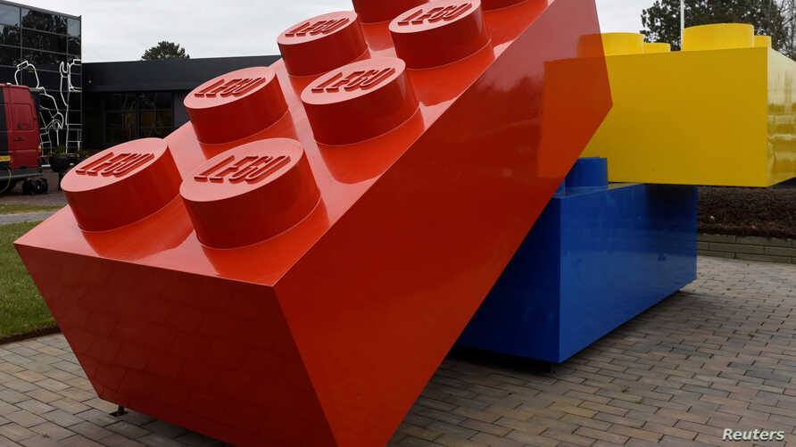 FILE - Giant Lego bricks are displayed at the headquarters of the Danish toy company during the annual news conference in Billund, Denmark.