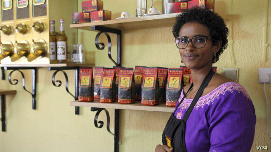 Nasra Ali, managing director of Kaldi Africa, is pictured in her company's tasting room in Lagos, Sept. 5, 2015. (C. Stein/VOA)