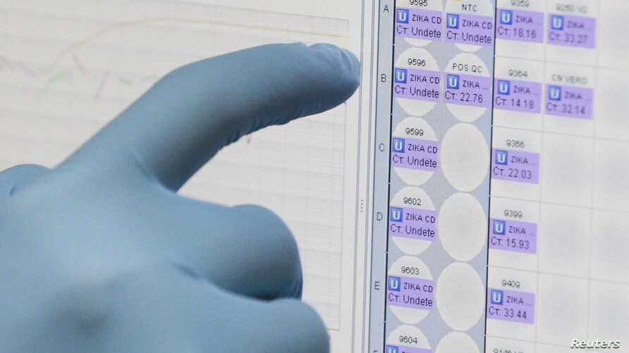 A medical researcher uses a monitor that shows the results of blood tests for various diseases,  including Zika, at the Gorgas Memorial laboratory in Panama City, Feb. 4, 2016.