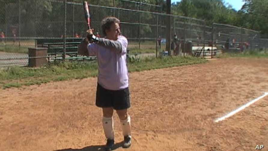 Janet Weeks, 75, plays softball regularly at this field outside Washington along with other members of the Golden Girls, a softball organization for senior women.