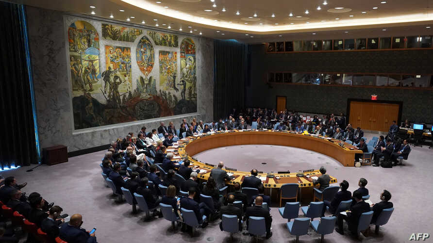 Members of the United Nations Security Council gather for a meeting on North Korea, Sept. 27, 2018, at the United Nations in New York.