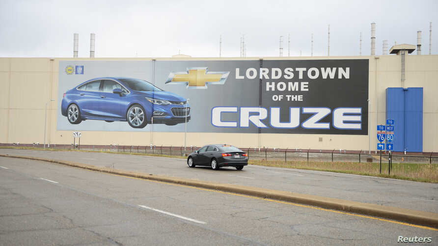 A car passes by the General Motors Lordstown Complex, assembly plant in Warren, Ohio, Nov. 26, 2018.