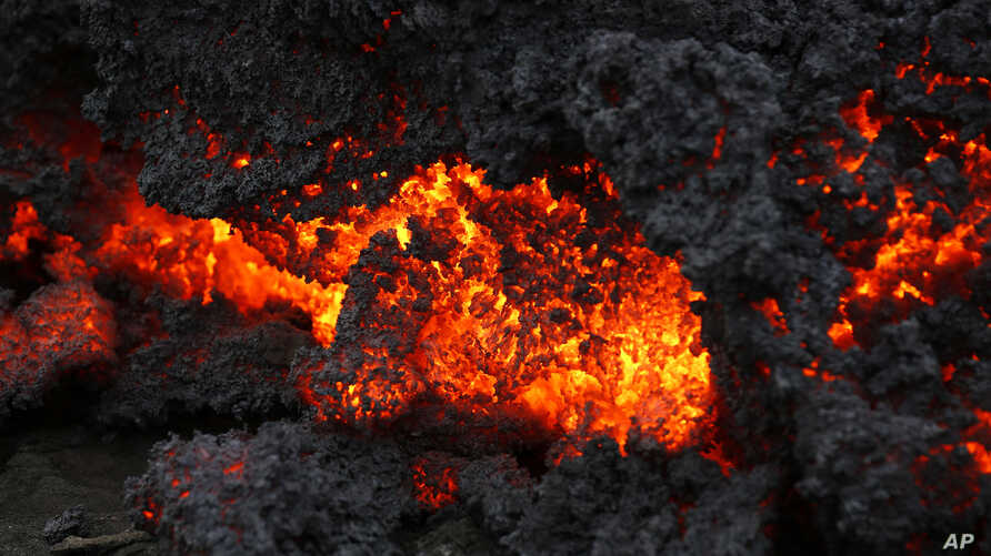 A close up of lava from an eruption on Holuhraun, northwest of the Dyngjujoekull glacier in Iceland, Monday, Sept. 1, 2014.