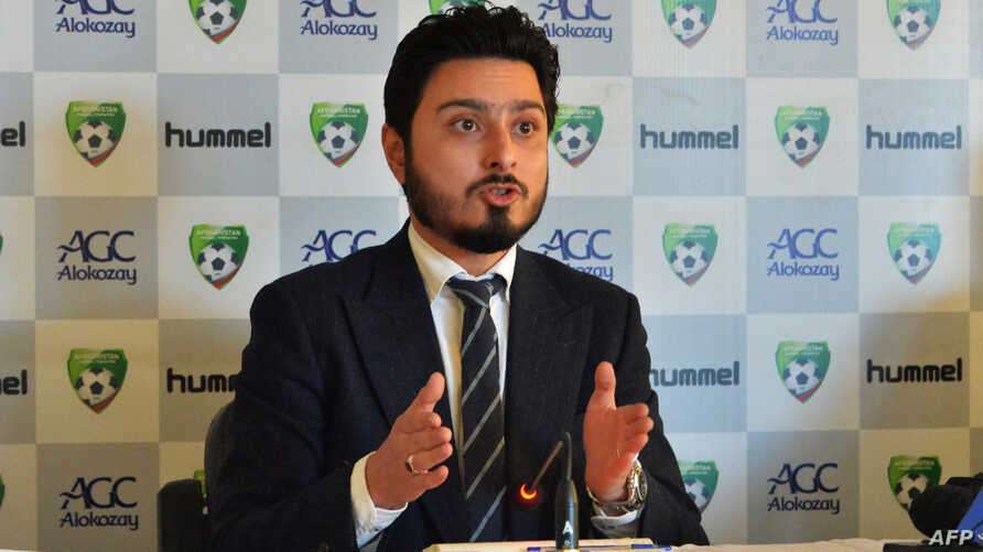 Secretary general of the Afghanistan football federation (AFF) Sayed Alireza Aqazada speaks during a press conference in Kabul, Dec. 1, 2018.
