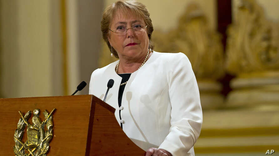 FILE - Chilean President Michelle Bachelet's popularity has fallen as corruption scandals and natural disasters have thwarted her reform plans.