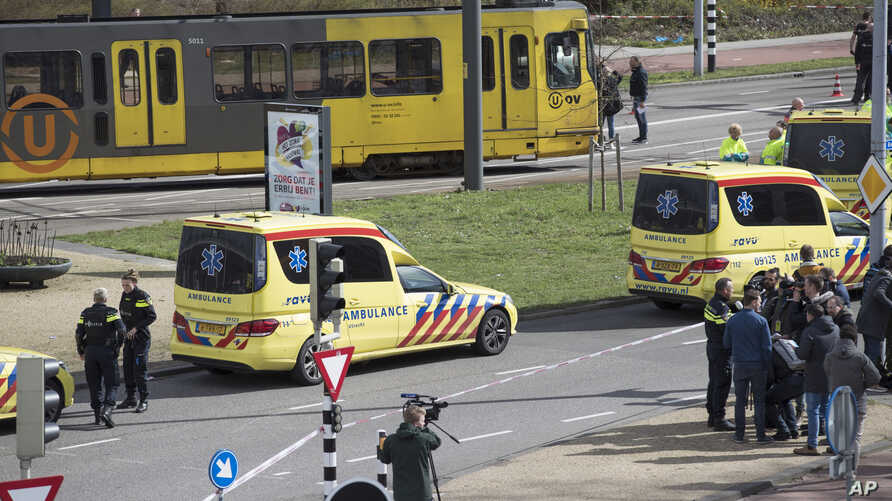 Ambulances are seen next to a tram after a shooting in Utrecht, Netherlands, March 18, 2019.