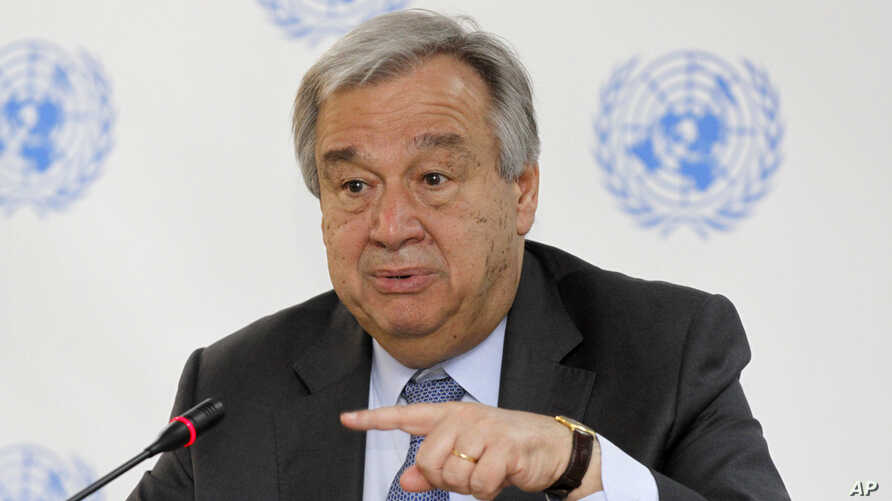 FILE - U.N. Secretary-General Antonio Guterres speaks during a press conference in Nairobi, Kenya, March 8, 2017. Sexual exploitation and abuse have left a black mark on the U.N.'s far-flung peacekeeping operations, and problems persist despite U.N.