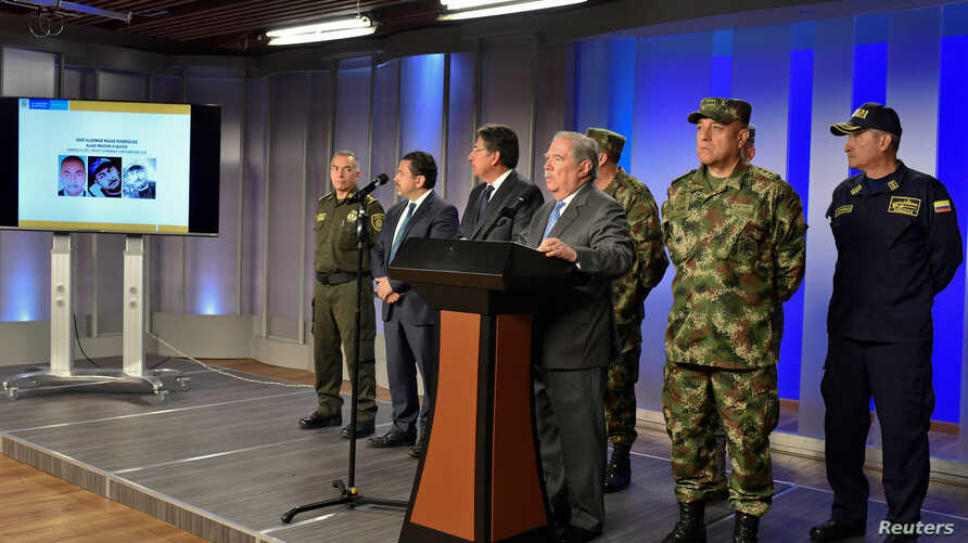 Colombian defense minister Guillermo Botero speaks during a news conference giving details of the investigation into the car bomb attack, in Bogota, Colombia, Jan. 18, 2019, in this hnadout photo, courtesy of Colombian Presidency.