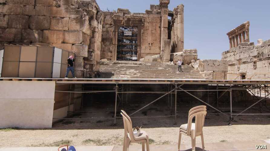 The stage is readied ahead of the opening night of Baalbeck International Festival, which takes places next Friday. (John Owens for VOA News)