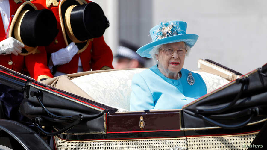 Britain's Queen Elizabeth II takes part in the Trooping the Color parade in central London, Britain, June 9, 2018.