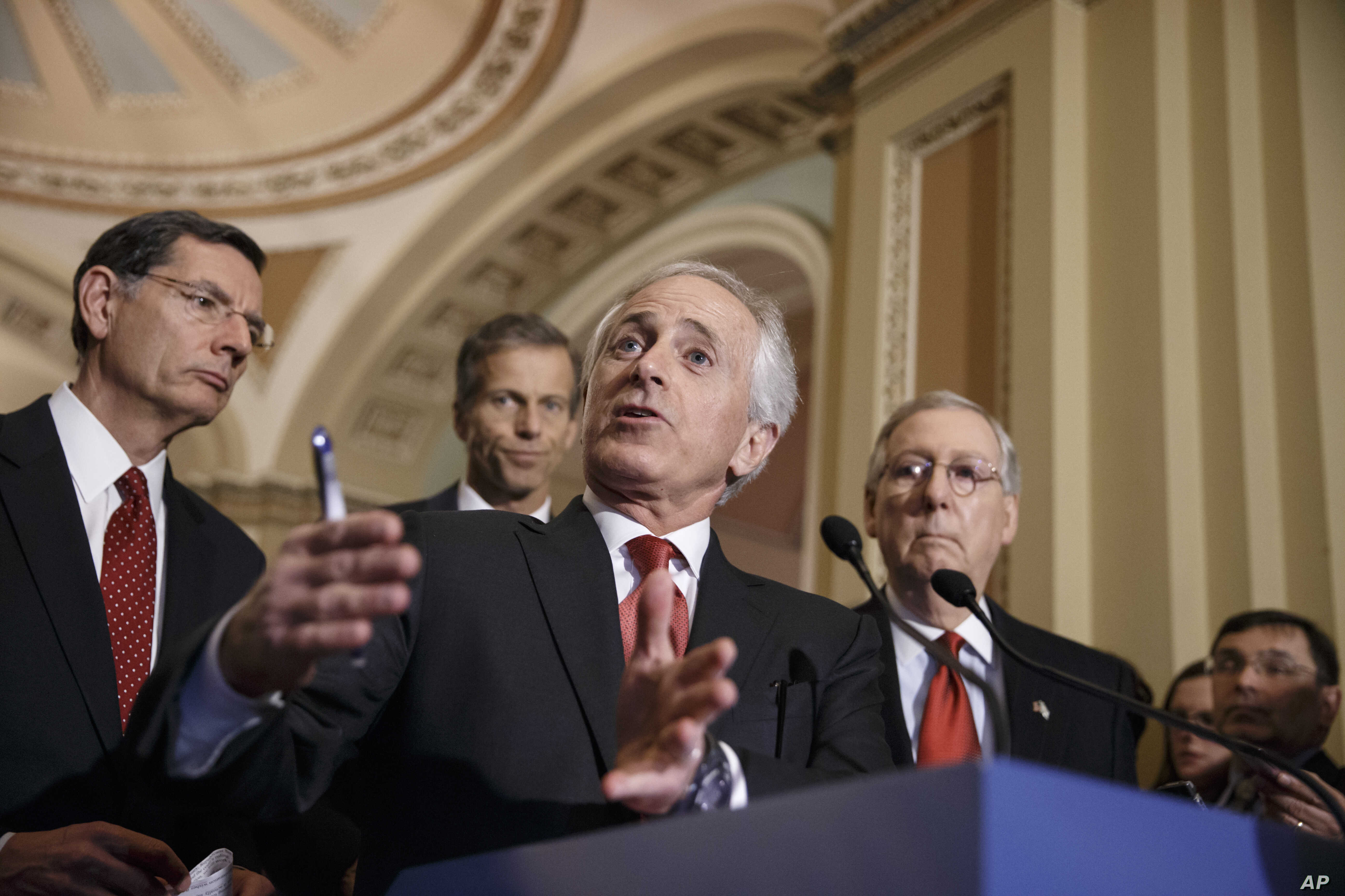 Senate Foreign Relations Committee Chairman Bob Corker, R-Tenn., outlines his bipartisan bill requiring congressional review of any comprehensive nuclear agreement that President Barack Obama reaches with Iran, at the Capitol in Washington, March 3,