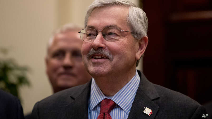 FILE - Iowa Governor Terry Branstad, President Donald Trump's pick for ambassador to China, attends an event in the Roosevelt Room at the White House in Washington, April 26, 2017.