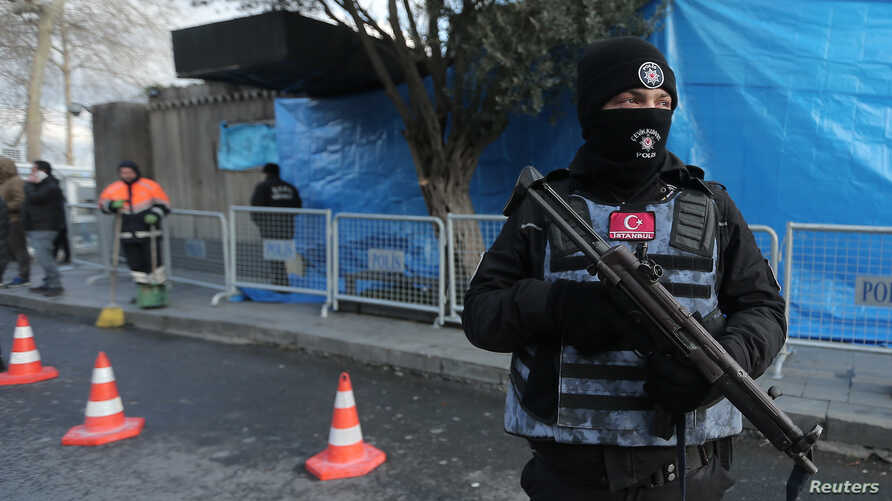 Turkish police stand guard outisde the Reina nightclub by the Bosphorus, which was attacked by a gunman, in Istanbul, Turkey, Jan. 1, 2017.