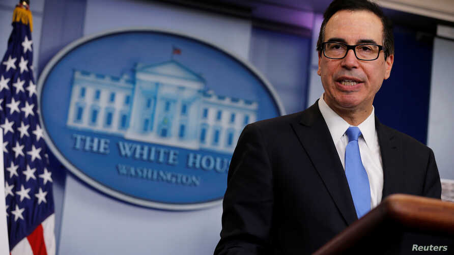 FILE - U.S. Treasury Secretary Steven Mnuchin speaks in th