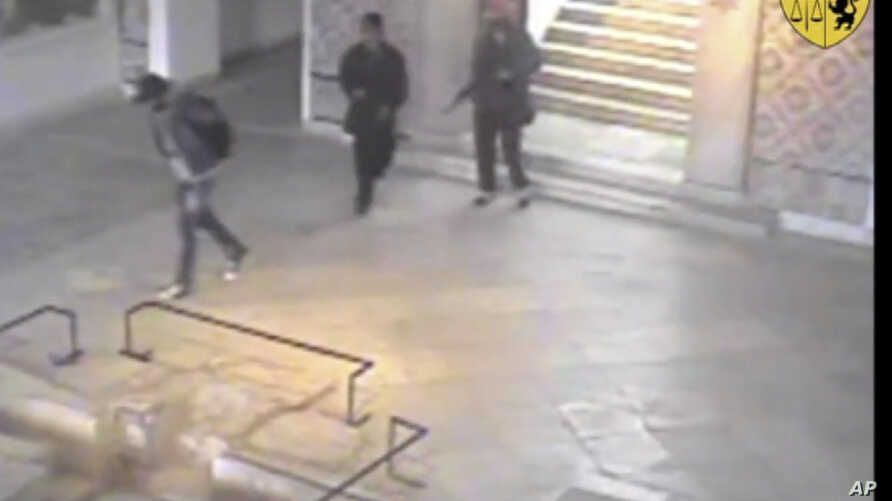 In this frame made from CCTV and released by the Tunisian government, two gunmen and third unidentified man can be seen inside the Bardo museum in Tunis, March 18, 2015.