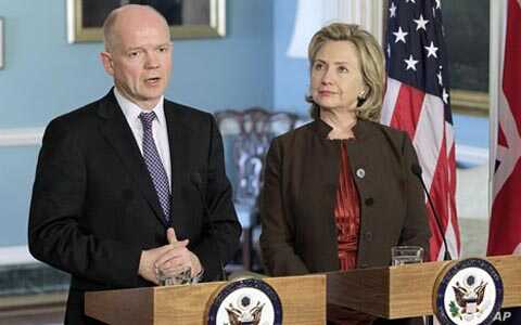 Secretary of State Hillary Rodham Clinton, right, hosts a meeting with British Foreign Secretary William Hague, at the State Department in Washington, Wednesday, Nov. 17, 2010. Hague used this month's British presidency of the UN security council tod