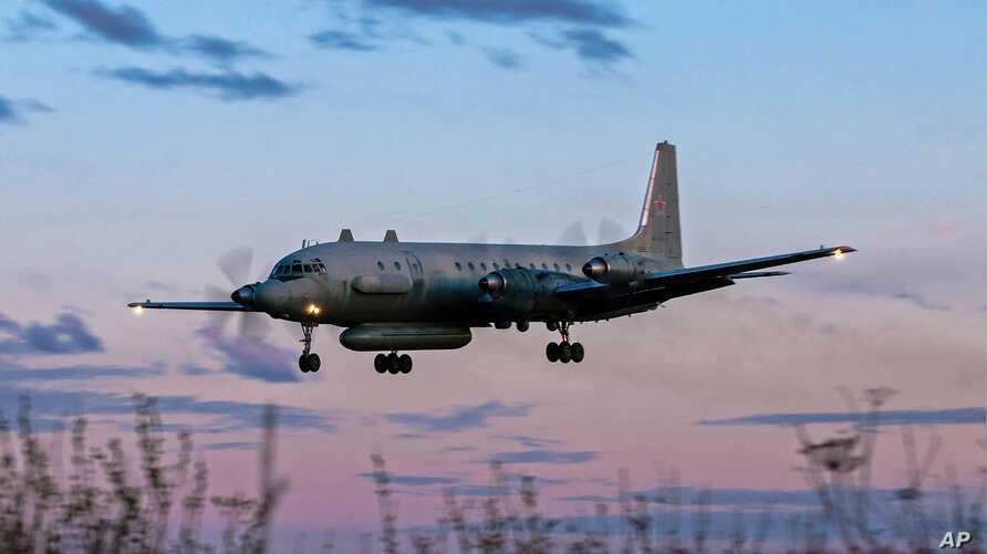 A photo taken on July 23, 2006 shows an Russian IL-20M  plane landing at an unknown location.