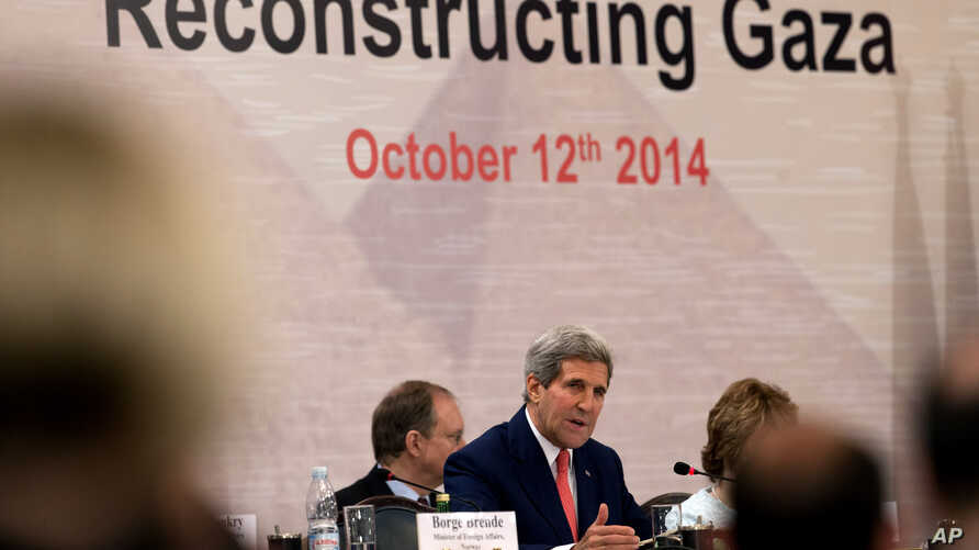 U.S. Secretary of State John Kerry speaks during the Gaza Donor Conference in Cairo, Egypt, Oct. 12, 2014.