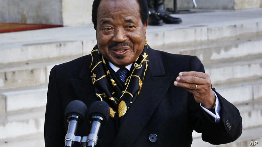 FILE -  Cameroon's President Paul Biya addresses reporters following his meeting with French President Francois Hollande at the Elyse Palace in Paris, Jan 30, 2013.