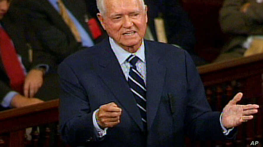 FILE - Sen. Ernest ''Fritz'' Hollings, D-S.C., addresses the Senate on Capitol Hill in Washington, in this image from video,  Nov. 16, 2004.