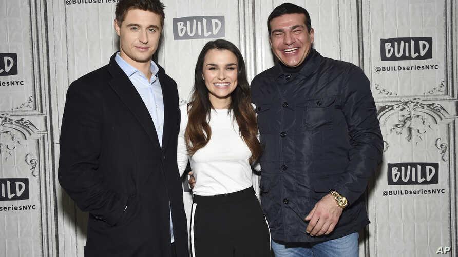 """Actors Max Irons (left) Samantha Barks and Tamer Hassan participate in the BUILD Speaker Series to discuss the film """"Bitter Harvest"""" at AOL Studios, Feb. 16, 2017, in New York."""