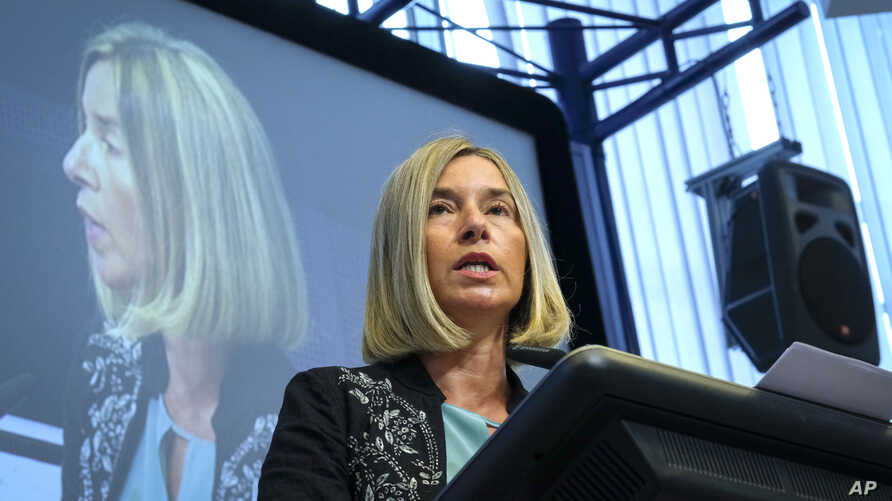 European Union Foreign Policy Chief Federica Mogherini speaks during an EU ambassadors conference at the EU Charlemagne building in Brussels, Belgium, Sept. 3, 2018.