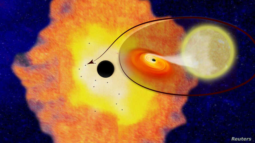 Twelve black hole low-mass binaries orbiting Sgr A* at the center of the Milky Way galaxy, appear in this illustration provided by Columbia University, April 5, 2018.