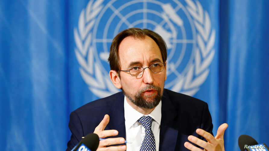 United Nations High Commissioner for Human Rights Zeid Ra'ad al-Hussein of Jordan speaks during a news conference at the United Nations European headquarters in Geneva, Switzerland, May 1, 2017. REUTERS/Pierre Albouy - RC12181432F0