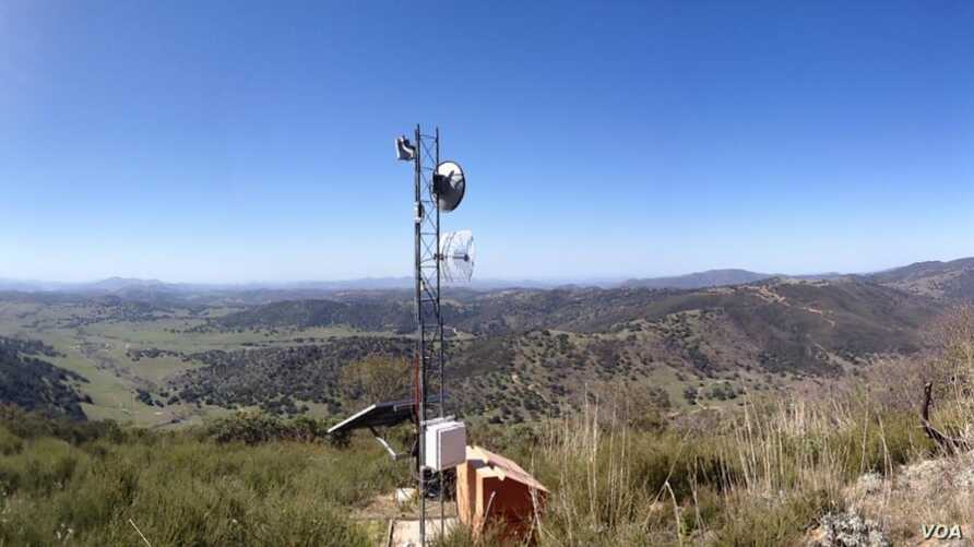 Photo shows a communications tower located on an unidentified Southern California Indian Reservation.  Courtesy, Tribal Digital Village, Pala, California.